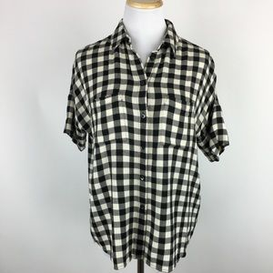 Madewell buffalo check short sleeve button down XS